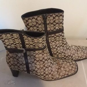 COACH MONOGRAM ANKLE BOOTS